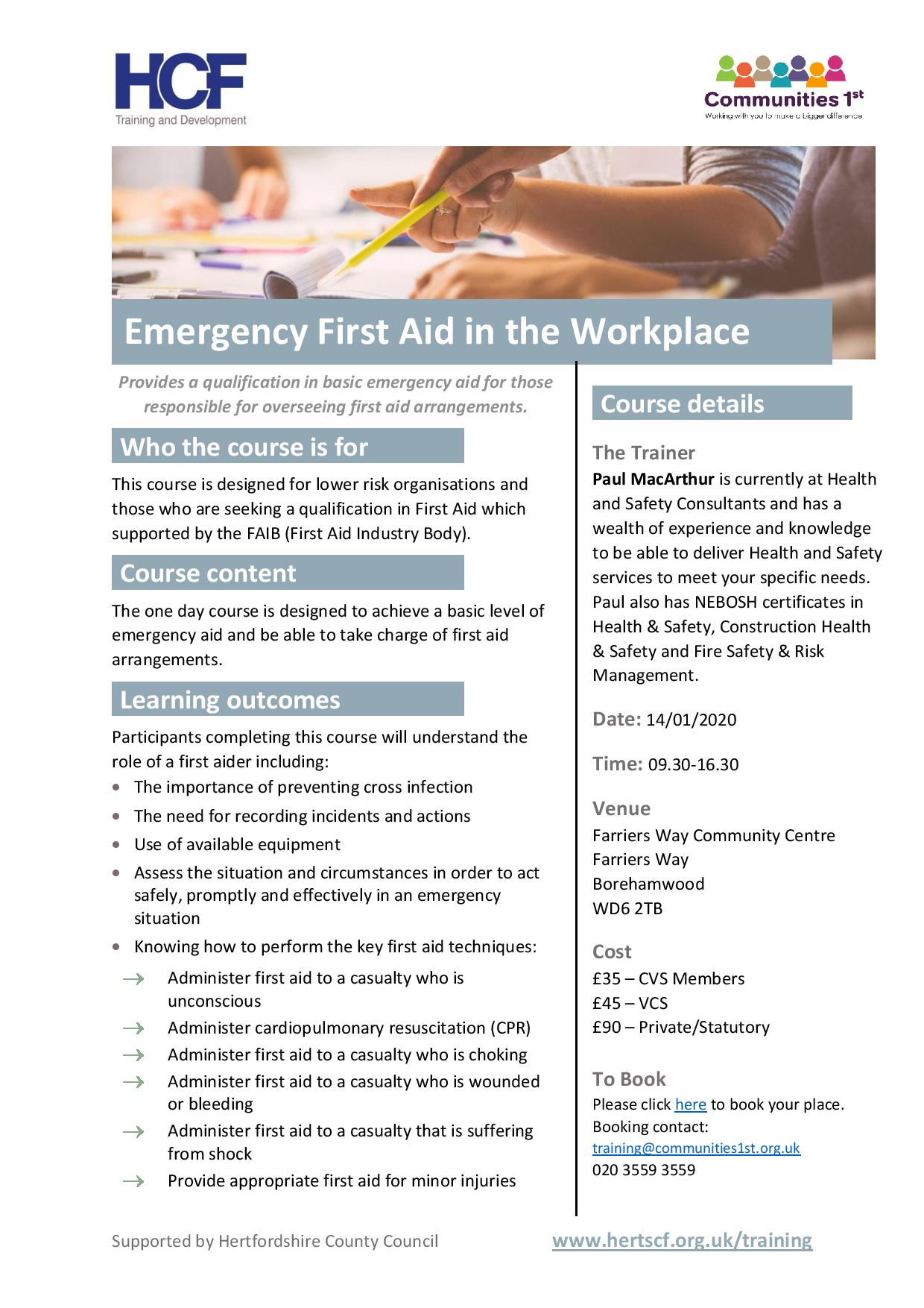 Emergency First Aid in the Workplace | Communities 1st